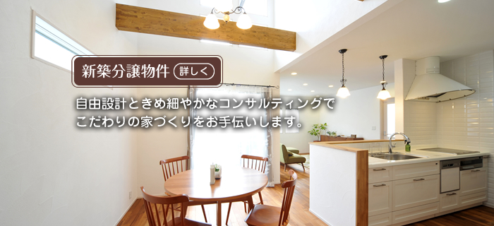 新築分譲物件 自由設計ときめ細やかなコンサルティングでこだわりの家づくりをお手伝いします。